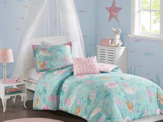 Mi Zone Kids leilani Aqua  Pink Printed Mermaid Comforter Set   Full