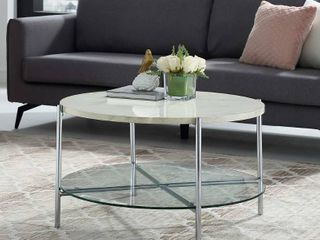 Silver Orchid Howell Faux Marble Round Coffee Table Retail 262 99