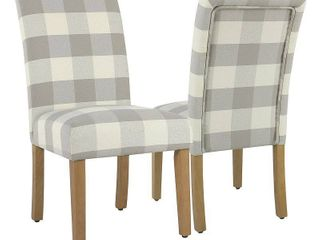 HomePop Parsons Dining Chair   Gray Plaid  set of 2  Retail 186 41