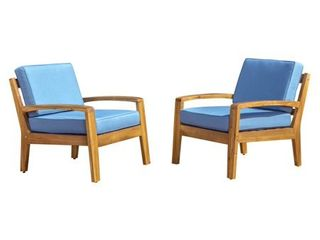 Grenada Outdoor Wooden Club Chair with Cushions  Set of 2  by Christopher Knight Home Retail 453 99