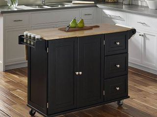 Home Styles Black Wood Base with Wood Top Kitchen Cart  53 5 in x 18 in x 36 in