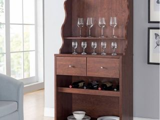 Furniture of America Aore Rustic 2 drawer Kitchen Cabinet with Wine Rack