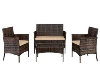 2pcs Arm Chairs 1pc love Seat   Tempered Glass Coffee Table Rattan Sofa Set Retail 205 49