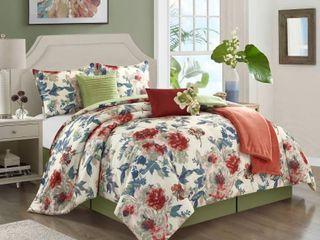 Porch   Den Summer lake Floral Pattern 7 piece Comforter Set Retail 127 99