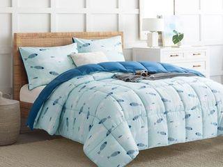 Puredown All Season Reversible Down Alternative Fish Printed 2 Piece Comforter Set KING