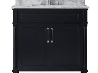 Home Decorators Collection Aberdeen 36 in. W x 22 in. D Vanity in Black with Carrara Marble Top with White Sink