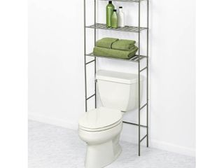 Glacier Bay 22 8 in  W Over the Toilet Bathroom Space Saver in Satin Nickel with Slatted Shelves