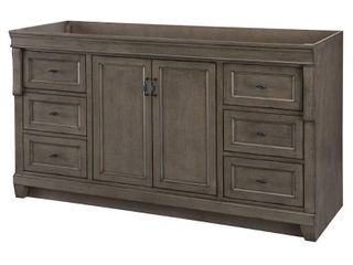 Home Decorators Collection Naples 60 in  W Bath Vanity Cabinet Only in Distressed Grey for Single Bowl