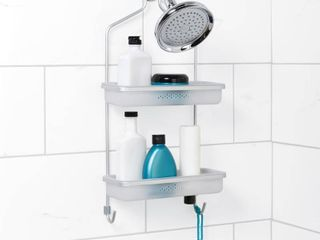 Zenna Home NeverRust Aluminum Adjustable Shower Caddy in Satin Chrome and Frosted