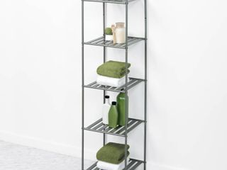 Glacier Bay 13 in  W Bathroom linen Tower in Satin Nickel with 5 Slatted Shelves
