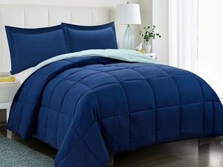 All Season Down Alternative Comforter Set  2pc Box Stitched Reversible Comforter with One Sham  Quilted Duvet Insert with Corner Tabs   Hypoallergenic  Supersoft  Wrinkle Resistant   Navy Twin Size