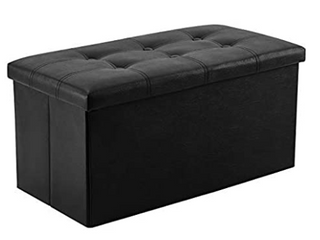 Youdenova Faux leather Storage Ottoman Black