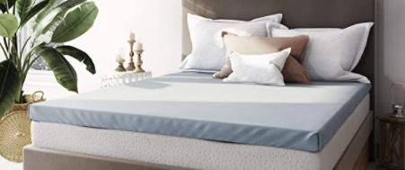 Cool Cloud Gel Memory Foam Tri Zone Mattress Topper w  Free Cover  Queen  Blue White