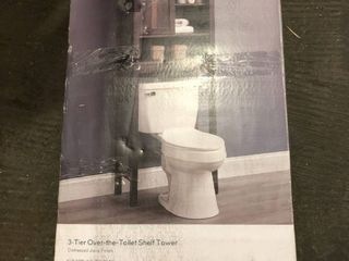 Style Selections 3 Tier Over the Toilet Shelf Tower  Distressed Java Finish  Model   lWSBDS lW100138 012020