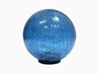 Style Selections Gazing Ball Blue Finish Solar Powered Hand Blown Glass Yard Decor