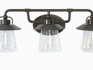 Allen   Roth Bristow 3 light 24 in Specialty Bronze Cone Vanity light