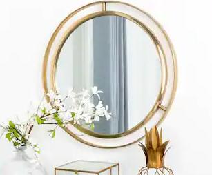 Glitzhome 24  D Deluxe Round Glass Mirror
