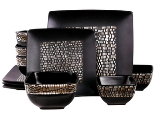 Elama s Naina 16 Piece Double Bowl Stoneware Dinnerware Set