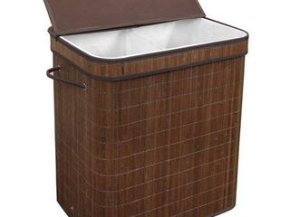 Greenco Bamboo Foldable Double Hamper  Flip top lid  Side Rope Carrying Handles and Inner liner With Divider  Espresso