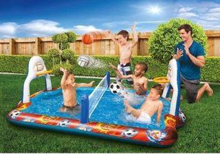 BANZAI Kiddie Pool Water Sports Arena Activity Splash Pool Volleyball Net   Full Court Basketball Hoops