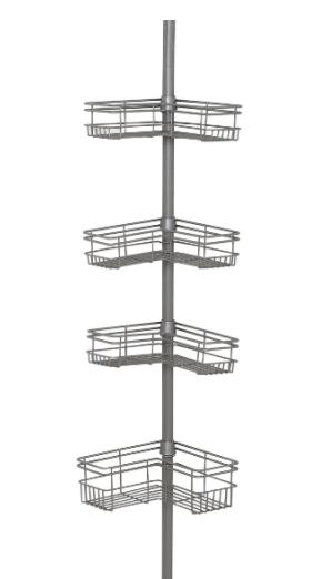 Zenna Home Tension Pole Shower Caddy Satin Nickel