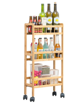 COPREE Bamboo 3 Tier Kitchen Removable Storage Cart  Slim Slide Out Rolling Pantry Shelf