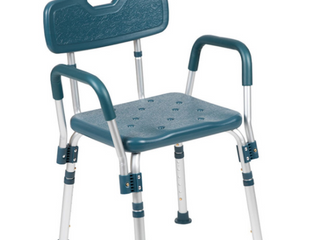 Navy Bath and Shower Chair With Back and Arms