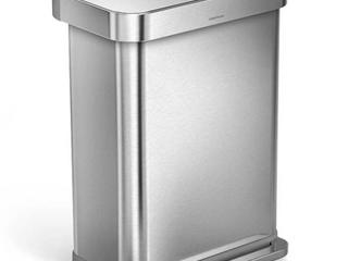 SimpleHuman Brushed Aluminum Wastebasket SlIGHT DENT IN SIDE