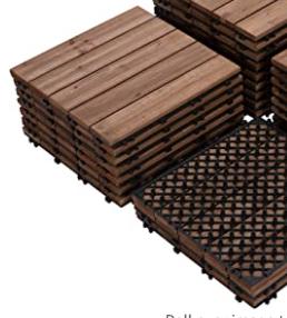 12 x 12in Wood Flooring Tiles Patio Pavers Blocks Interlocking Wooden Tiles Indoor Outdoor Patio 10 Pack