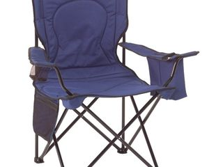 Coleman Oversized Quad Folding Camp Chair with Cooler Pouch  Blue