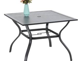 37 x37  Outdoor Dining Table with Umbrella Hole   Black   Captiva Designs