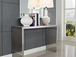 Stainless Steel Modern Gridiron Console Table  Retail 397 99