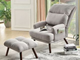 OVIOS Recliner chair with ottoman Velvet   linen wingback chair Mid Century reading chair for living room  accent chair  Retail 332 99