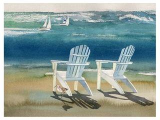 Masterpiece Art Gallery Adirondack Chairs at the Beach by lynnea Washburn Canvas Art Print  Retail 103 49