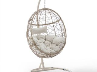 Cleo Outdoor Wicker Hanging Egg Chair   42 W x 42 D x 81 H  Retail 429 99 2 BOXES IN SET