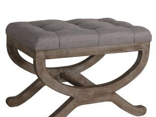 Cortesi Home Falmouth X Bench Ottoman with Solid Wood legs  17  Beige Fabric Cushion  Retail 155 99