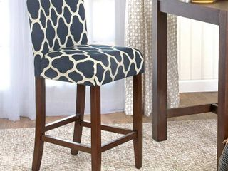 HomePop 29 inch Bar Height Geo Brights Navy Blue Upholstered Barstool   24 inches   24 inches  Retail 102 99