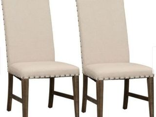 Copper Grove letampon Wire brushed Aged Oak Upholstered Side Chair  Set of 2  Retail 319 99