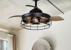 Industrial 36 inch Black 3 Blade Ceiling Fan with light Kit   36 in  Retail 169 99