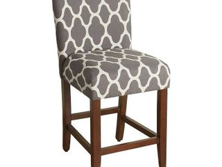 HomePop 24 inch Geo Bright Warm Grey Upholstered Counter Stool   24 inches  Retail 113 99