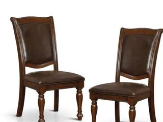 Copper Grove Madzharovo Formal Brown Cherry Faux leather Dining Chair  Set of 2  Retail 279 99