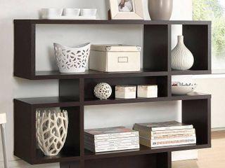 Cassidy 35 25  4 level Modern Bookshelf Dark Brown   Baxton Studio