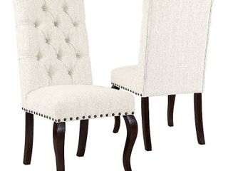 HomePop Natural Textured Tufted Back Dining Chairs  Set of 2  Retail 247 82