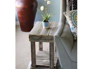 Slatted Reclaimed Wood End Table  Retail 132 99