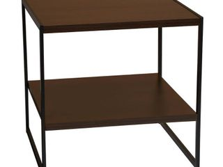 Household Essentials Square 2 Tier Walnut End Table