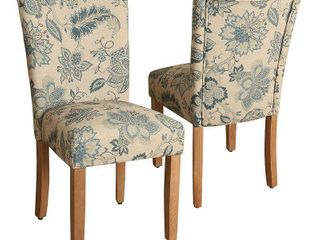 Set of 2 Parsons Dining Chair Taupe Navy   HomePop