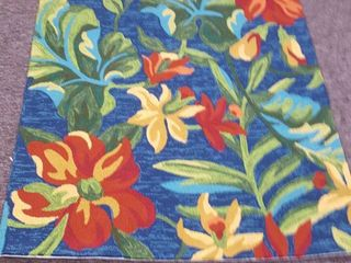 Miami Spiced Orchid Blue Green Indoor  Outdoor Rug  Retail 146 99