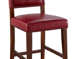 Copper Grove Durlesti Counter Stool with Red Vinyl Upholstery and Bronze Nailhead Trim  Retail 98 76