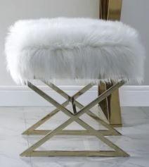 Della Faux Fur Ottoman with Gold or Chrome X legs  Retail 216 99