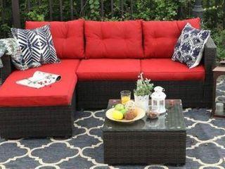 Pre Assembled   PHI VIllA 3 Piece Patio Furniture Set Rattan Sectional Sofa Furniture Red Cushions Retail 439 99